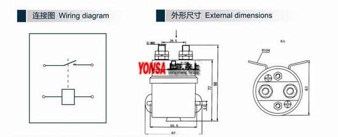 磁吹式直流接触器QCC15-200A/10(上海永上)。QCC直流接触器可广泛应用于蓄电池车辆做起动、停止、调速换向的控制和牵引机车、矿山机械、石油化工、冶金船舶、电信、计算机等领域作电源切换及不间断电源系统。 磁吹式直流接触器QCC15-200A/10(上海永上)。直流接触器在电工学上,因为可快速切断交流与直流主回路和可频繁地接通与大电流控制(某些型别可达800安培)电路的装置,所以经常运用于电动机做为控制对象也可用作控制工厂设备电热器工作母机和各样电力机组等电力负载,接触器不仅能接通和切断电路,而