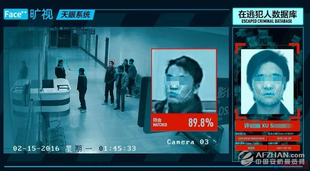 旷视(face  )天眼系统识别许某并报警