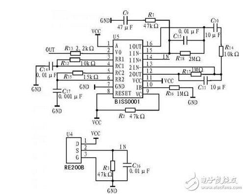 热释电红外传感器采集的信号通过biss0001和耦合电容二级放大,热释电